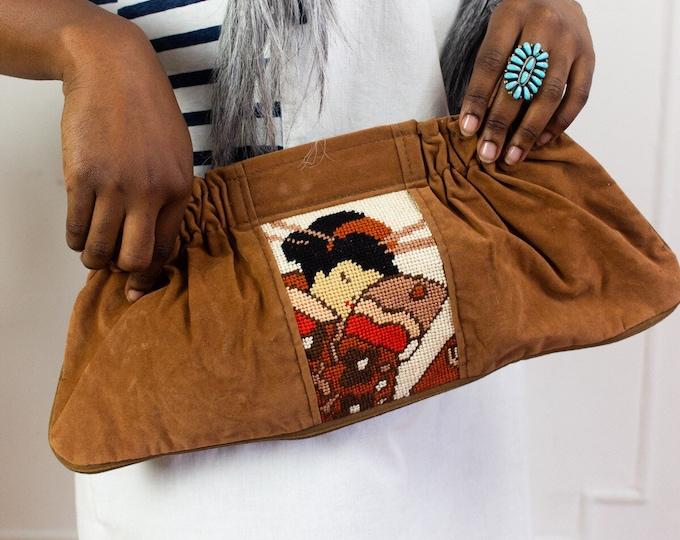70s Cross-Stitch Geisha Clutch
