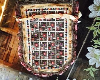 Antique Embroidered Silk Satchel Bag