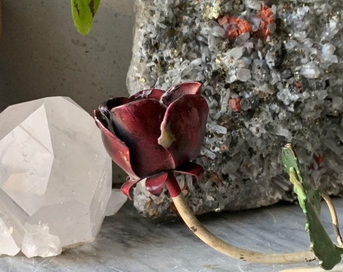 Antique Italian Enamel Rose Candle Snuffer