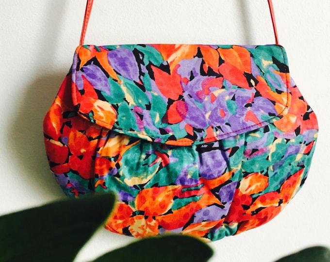 1980s Satin Floral Bag