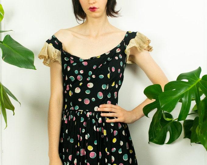 30s Silk Polka Dot Emma Domb Gown