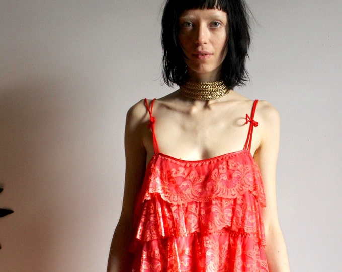 60s Ruffle Coral Negligee