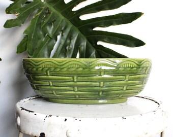 Haeger Pressed Basket Glazed Pot