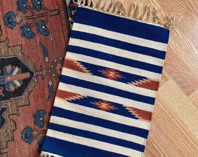 Handwoven Teal Wool Table Rug
