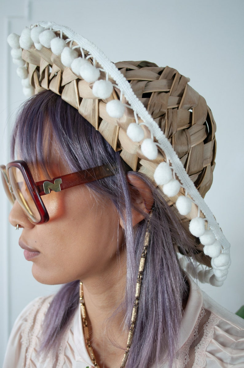 Palm Fronds and Pom Poms Naturalist Hat