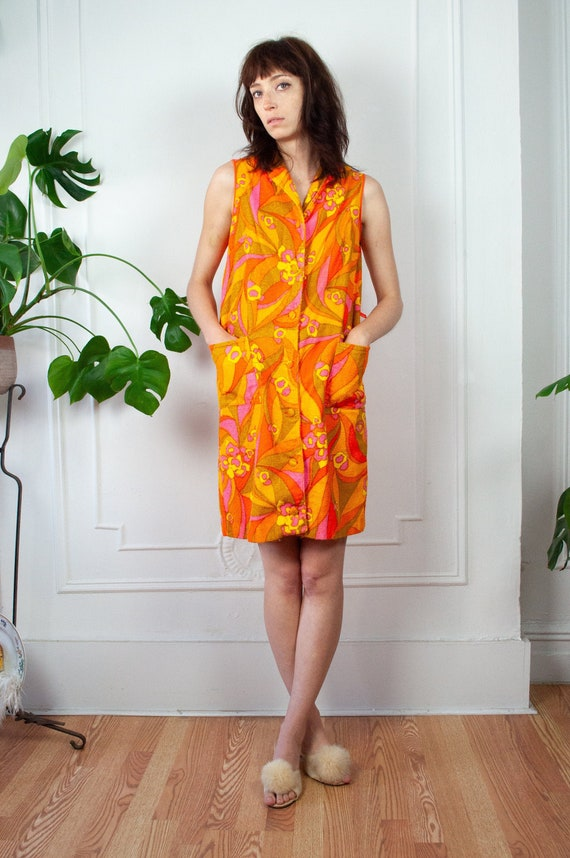 60s Psychedelic  Floral Terry Cloth Robe Dress