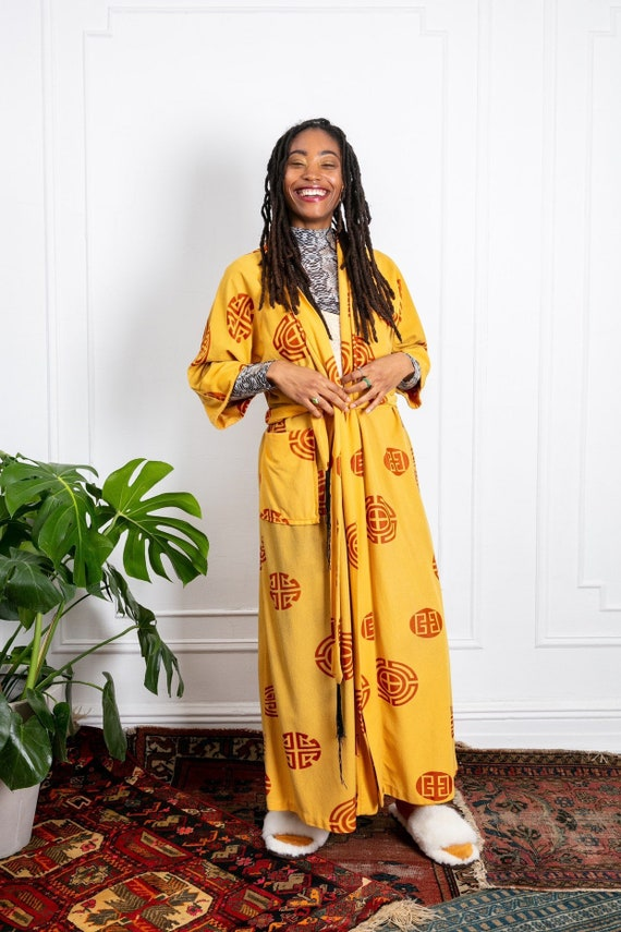1970s Velour Mustard Robe