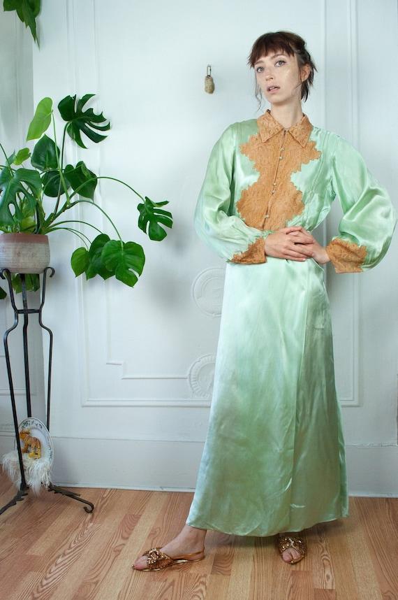 30s Mint Silk Lace Gown