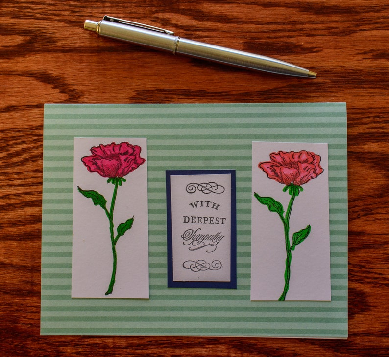 Handmade Sympathy Card  Two Open Roses  Hand stamped and alcohol markers