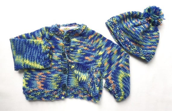 ca2756b06 Blue Cardigan and Cap with Orange Yellow and Light Blue Size