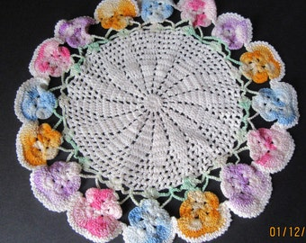 Hand Crocheted Pansy Edged Doily Pastel Multi Color Cotton Thread 8 inch Diameter