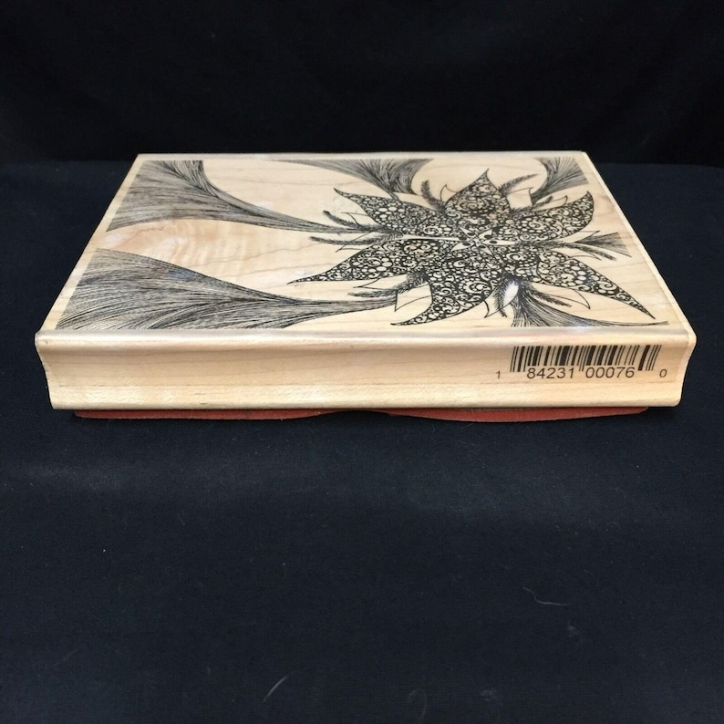 Wood-mounted Poinsettia Rubber Stamp #L2021 by Leigh Hannan for Impression Obsession 4 x 5.25. Christmas Plant