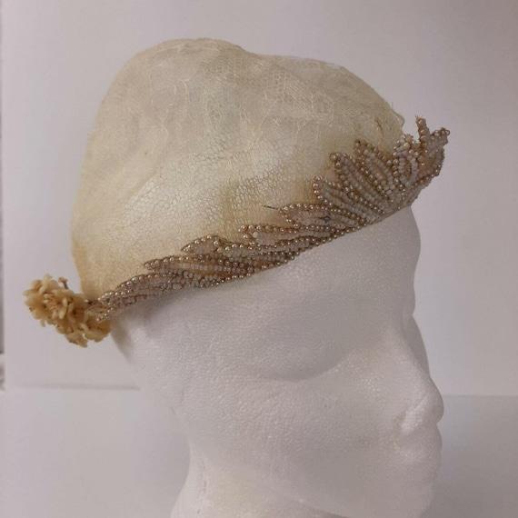 Vintage Bridal Cap Beaded Headpiece Wax Flowers 2-