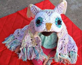 Doudou hibou, couverture hibou à capuche au crochet, couverture hibou fait main, couverture hibou à capuche, renard, ours, loup, motif de licorne doudou MJs Off the Hook