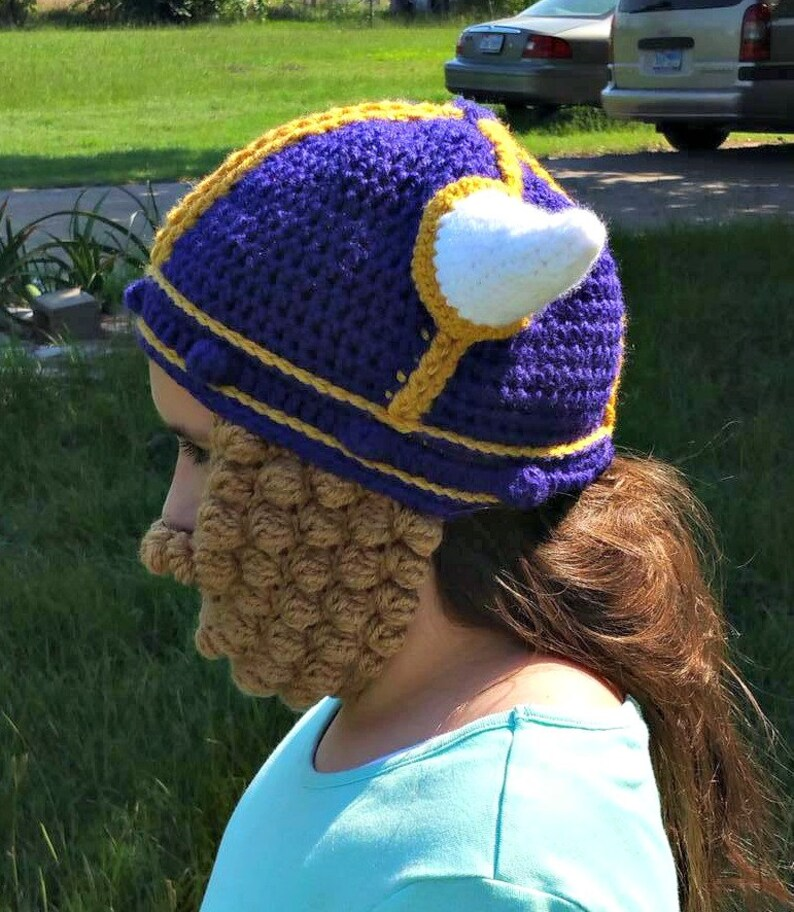 a22924311ab MN Vikings hat with beard viking hat with braids crochet