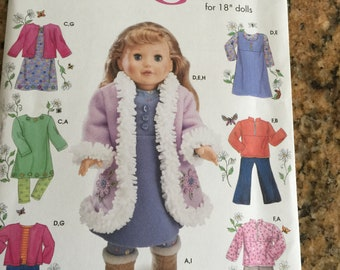 """Simplicity 4786 Wardrobe for  18"""" doll  patterns NEW"""
