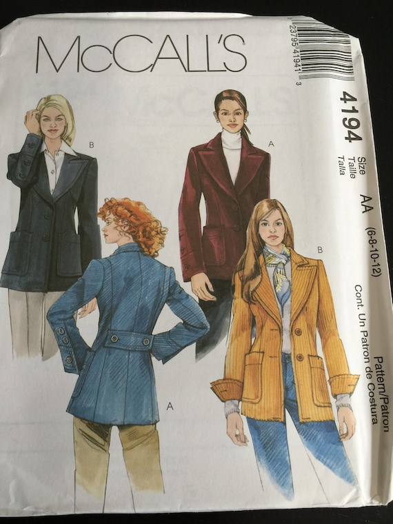 MCCALLS M5188 MISSES LINED JACKET BLAZER SEWING PATTERN SZ 6 TO 12