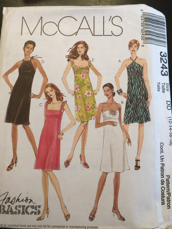 New 12 14 16 18 McCall\'s 3243 Sewing Pattern Dress with variations sundress  empire waist plus