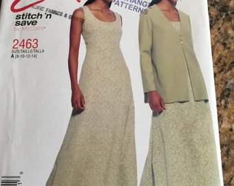 McCalls M2463 2463 Easy Stitch 'n Save Dress and Jacket New pattern sizes 8-14