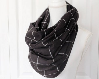 Black + White plaid infinity scarf