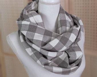 Gray + White buffalo plaid infinity scarf
