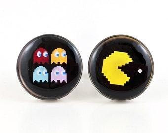 PacMan Silver Pac Man Cufflinks groomsman video game novelty cuffs