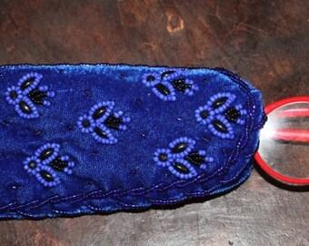 CLEARANCE Glass Holder ,  Electric blue velvet beaded eye Glass Holder , handcrafted Glass Case glass , Beaded Glass Case