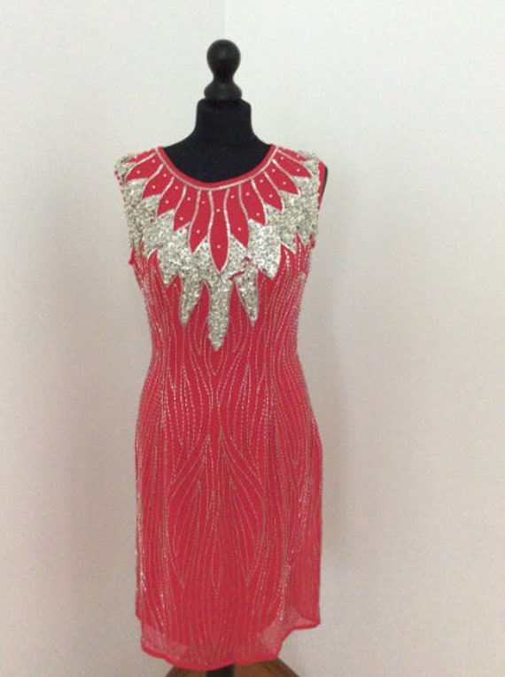 on SALE Red Party Dress , Red Statement Dress , Re