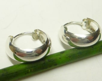 Earrings, small creole smooth, 1.3 cm, worked in 925 sterling silver, folding closure, gift, jewelry, unisex