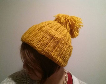 Handmade orange ribbed hat