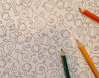 Adult Coloring Page - Pumpkin Harvest