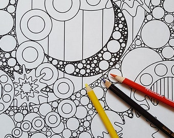 Adult Coloring Page - Abstract Moons & Stars