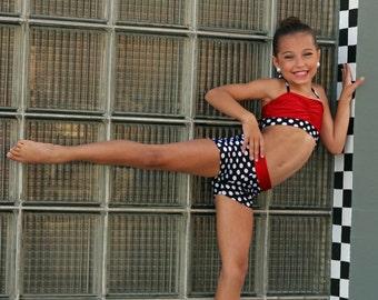 Polka dot halter tie dance set. Sizes 2-14. Dancewear. Cheer. Gymnastics