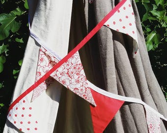 Red fabric bunting, shabby chic bunting, party bunting, party decor, shabby chic bunting, garden party bunting, birthday bunting, birthday