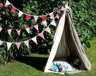 Red floral fabric bunting, wedding garland, wedding decor, garden party bunting, birthday party bunting