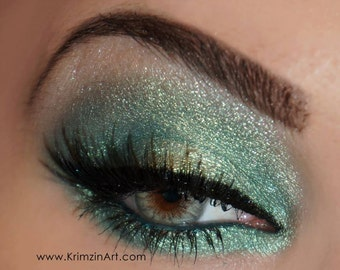 Duochrome Color shifting Mineral Eyeshadow: Loud METALLIC GREEN dupe color shifting shimmer sparkle pigmented