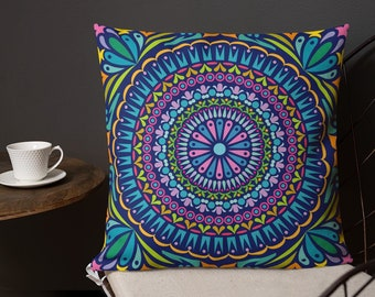 Mandala Printed Pillow Case with stuffing - Home Decorative Pillow - Home Decorative Throw Pillowcases - Living Room Decor - Bedroom Decor