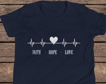 Faith Hope Love Kids T Shirt   Christian Shirt    Youth    Unisex   4 Colors   Cotton   Kids T Shirt   Gifts   Religious T Shirt   Inspired