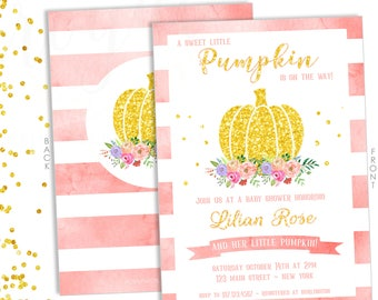 Little Pumpkin on the Way! Invitation, Baby Shower Invitation, Baby Pumpkin, It's a Girl, Pink and Gold Party,  PRINTABLE INVITATION