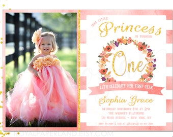 Princess Birthday Invitation - Fall Girl Birthday Invitation - Autumn Birthday Invitation - Pink and Gold Birthday - PRINTABLE INVITATION