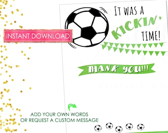 SOCCER INVITATION - Soccer Birthday Party Invitation - Thank You Note Cards - Soccer Party Theme - Green and Black Party- Digital File