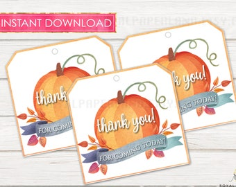 Little Pumpkin Tags, Thank You Tags, Printable Birthday Tags, PRINTABLE FILE ONLY