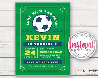 Soccer Birthday Invitation   Soccer Invitation   Soccer Birthday Party   Soccer Party   Sports Invitation   INSTANT ACCESS - Edit Yourself