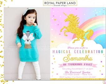 UNICORN Birthday Party Invitation / Rainbow / Whimsical Birthday Party / Pastel Girl Birthday Party / Digital Invitation - Printable