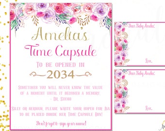 TIME CAPSULE Sign & Note Cards- Colorful Flowers - Watercolor Flowers Theme Birthday Party - Printable Digital Files