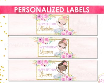 Ballerina Water Bottle Wrappers | Personalized Ballerina Water Labels | Ballerina Birthday Party Decoration |  Ballerina and Flowers