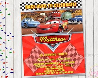 Cars Birthday Invitation - Disney Birthday Party - Cars 2 - Cars 3 Theme Birthday Party - Boy Birthday Party - Printable Birthday Invitation