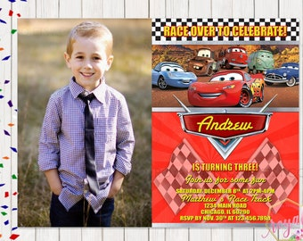 Cars Birthday Invitation with picture - Disney Birthday Party - Theme Birthday Party - Boy Birthday Party - Printable Birthday Invitation