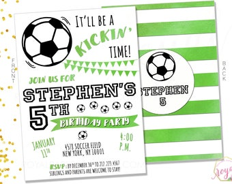 SOCCER INVITATION - Soccer Birthday Party Invitation - Soccer Party Theme - Soccer Theme Birthday - Green and Black Party- Digital File