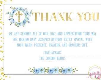 Baptism / First Communion Note Card - Blue Watercolor flowers Thank You - Religious Event Card - Boy Invitation - PRINTABLE - Digital File